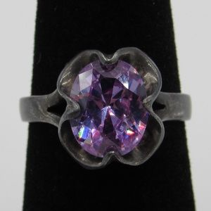 Vintage Size 6.25 Sterling Rustic Purple CZ Ring